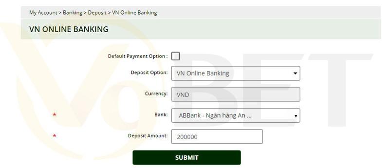 Hướng dẫn nạp tiền V9BET qua VN IBank